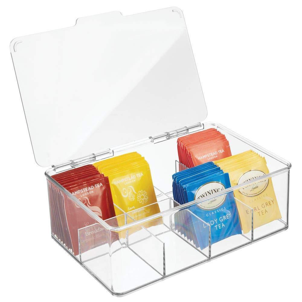 Featured mdesign stackable plastic tea bag holder storage bin box for kitchen cabinets countertops pantry organizer holds beverage bags cups pods packets condiment accessories clear