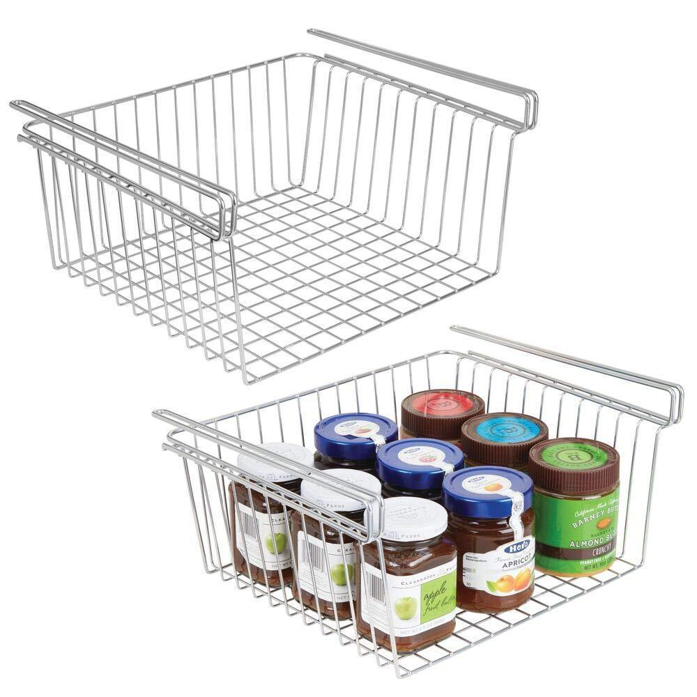 Save on mdesign household metal under shelf hanging storage organizer bin basket for organizing kitchen pantry cabinets cupboards shelves vintage modern farmhouse grid style large 2 pack chrome