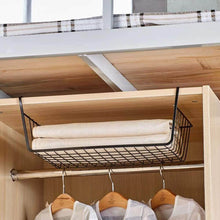 Load image into Gallery viewer, Shop here under shelf basket 4 pack black wire rack slides under shelves for storage space on kitchen pantry desk bookshelf cupboard