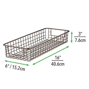 Buy now mdesign household wire drawer organizer tray storage organizer bin basket built in handles for kitchen cabinets drawers pantry closet bedroom bathroom 16 x 6 x 3 8 pack bronze