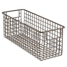 Load image into Gallery viewer, Get mdesign farmhouse decor metal wire food storage organizer bin basket with handles for kitchen cabinets pantry bathroom laundry room closets garage 16 x 6 x 6 8 pack bronze