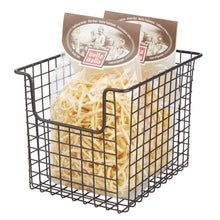 Load image into Gallery viewer, Get mdesign household metal kitchen pantry food storage organizer basket bin farmhouse grid design or cabinets cupboards shelves holds potatoes onions fruit 8 wide 8 pack bronze