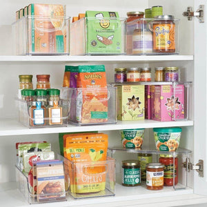Storage mdesign plastic food packet kitchen storage organizer bin caddy holds spice pouches dressing mixes hot chocolate tea sugar packets in pantry cabinets or countertop 8 pack clear