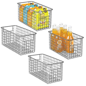 Order now mdesign farmhouse decor metal wire food storage organizer bin basket with handles for kitchen cabinets pantry bathroom laundry room closets garage 12 x 6 x 6 4 pack graphite gray
