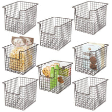 Load image into Gallery viewer, Featured mdesign household metal kitchen pantry food storage organizer basket bin farmhouse grid design or cabinets cupboards shelves holds potatoes onions fruit 8 wide 8 pack bronze