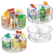 Load image into Gallery viewer, Exclusive mdesign divided lazy susan turntable storage container for kitchen cabinet pantry refrigerator countertop bpa free food safe spinning organizer for kids toddlers 5 sections 4 pack clear