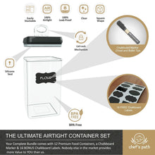 Load image into Gallery viewer, Shop here chefs path airtight food storage container set 12 pc set 16 bonus chalkboard labels marker best value kitchen pantry containers bpa free clear durable plastic with black lids