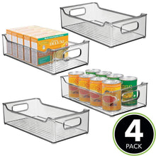 Load image into Gallery viewer, Top rated mdesign wide stackable plastic kitchen pantry cabinet refrigerator or freezer food storage bin with handles organizer for fruit yogurt snacks pasta bpa free 14 5 long 4 pack smoke gray