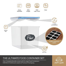 Load image into Gallery viewer, The best chefs path food storage containers flour container great for sugar baking supplies airtight kitchen pantry bulk food canisters bpa free 6 pc set 8 labels pen