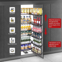 Load image into Gallery viewer, Save spacekeeper kitchen pantry pull out shelves pullout pantry pullout wall cabinet organizer for all liquid drinks snacks 12 shelves stainless steel 67in height 23 6in width
