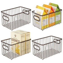 Load image into Gallery viewer, Best mdesign metal farmhouse kitchen pantry food storage organizer basket bin wire grid design for cabinets cupboards shelves countertops closets bedroom bathroom 10 long 4 pack bronze