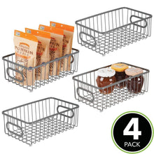 Load image into Gallery viewer, Try mdesign metal farmhouse kitchen pantry food storage organizer basket bin wire grid design for cabinet cupboard shelves countertop closet bedroom bathroom small wide 4 pack graphite gray