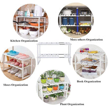 Load image into Gallery viewer, Products under sink organizer 2 tier expandable kitchen bathroom pantry storage shelf multi functional adjustable under kitchen sink organization storage rack heavy duty white