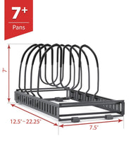 Load image into Gallery viewer, The best 7 pans expandable pan and pot organizer rack separable or expandable frames 7 adjustable compartments kitchen cast iron skillets bakeware plate lid holder pantry