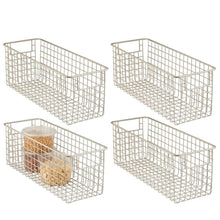 Load image into Gallery viewer, New mdesign farmhouse decor metal wire food storage organizer bin basket with handles for kitchen cabinets pantry bathroom laundry room closets garage 16 x 6 x 6 4 pack satin