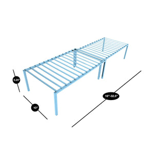 Shop here smart design premium kitchen storage shelf w plastic feet expandable steel metal frame rust resistant coating counter pantry shelf organization kitchen 16 32 x 6 inch light blue