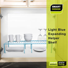 Load image into Gallery viewer, Select nice smart design premium kitchen storage shelf w plastic feet expandable steel metal frame rust resistant coating counter pantry shelf organization kitchen 16 32 x 6 inch light blue