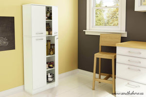 Featured south shore 4 door storage pantry with adjustable shelves pure white