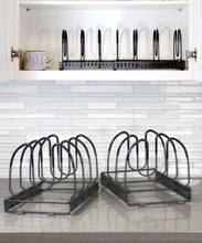Load image into Gallery viewer, Top rated 7 pans expandable pan and pot organizer rack separable or expandable frames 7 adjustable compartments kitchen cast iron skillets bakeware plate lid holder pantry