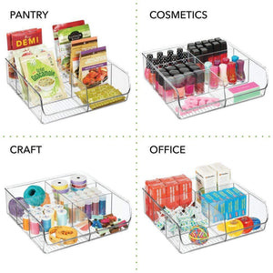 Shop mdesign plastic wide food storage organizer bin caddy for kitchen pantry cabinet countertop holds baking supplies spices pouches dressing mixes tea sugar packets 6 sections 5 pack clear