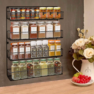 Best seller  bbbuy 4 tier spice rack organizer wall mounted country rustic chicken holder large cabinet or wall mounted wire pantry storage rack great for storing spices household stuffs