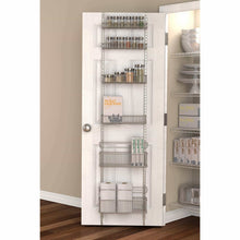 Load image into Gallery viewer, Exclusive premium over the door steel frame kitchen pantry and bath room organizer in satin nickel adjustable shelf system made of solid steel hung or door mounted option
