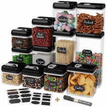 Load image into Gallery viewer, Save chefs path airtight food storage container set 12 pc set 16 bonus chalkboard labels marker best value kitchen pantry containers bpa free clear durable plastic with black lids