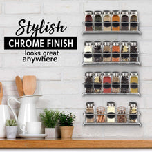 Load image into Gallery viewer, Purchase spice rack organizer for cabinet door mount or wall mounted set of 4 chrome tiered hanging shelf for spice jars storage in cupboard kitchen or pantry display bottles on shelves in cabinets
