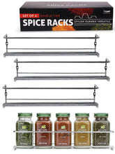 Load image into Gallery viewer, New gorgeous spice rack organizer for cabinets or wall mounts space saving set of 4 hanging racks perfect seasoning organizer for your kitchen cabinet cupboard or pantry door