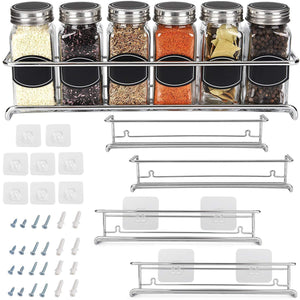 Order now spice rack organizer for cabinet door mount or wall mounted set of 4 chrome tiered hanging shelf for spice jars storage in cupboard kitchen or pantry display bottles on shelves in cabinets