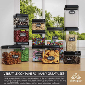 Shop for chefs path airtight food storage container set 12 pc set 16 bonus chalkboard labels marker best value kitchen pantry containers bpa free clear durable plastic with black lids