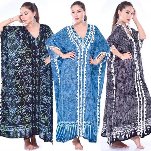 Gauzy Batik Maxi Caftan Dress