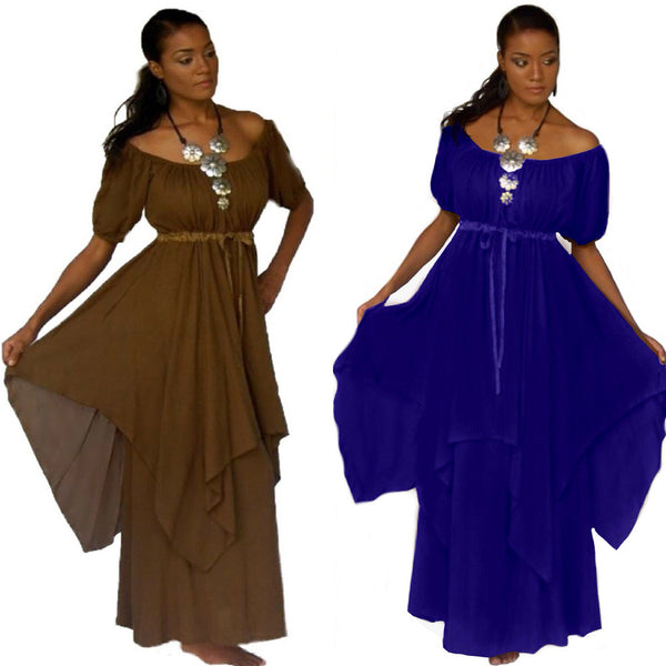 Gypsy Short Sleeves Renaissance Maxi Dress