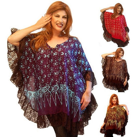 Audrey Boho Gauzy Batik Lace Combination Tunic Top