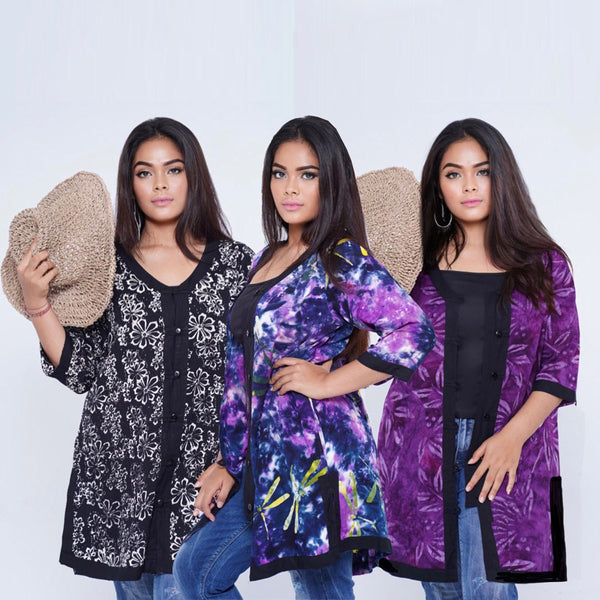 Andrea 3/4 Sleeve Button Batik Combination Boho Jacket