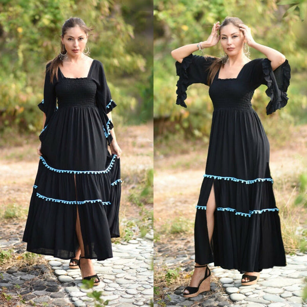 Smocked Bodice Square Neckline Long Dress
