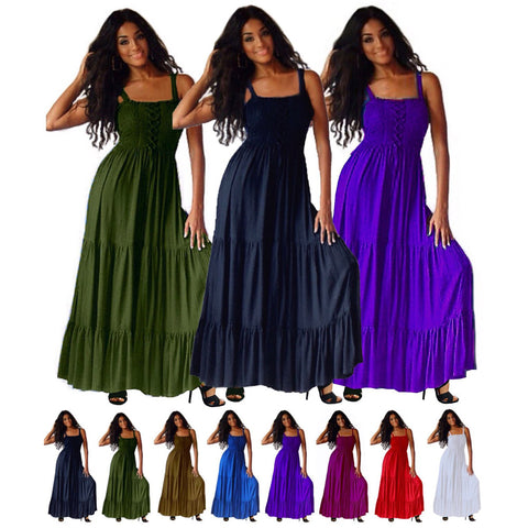 Melanie Boho Tiered Ruffled Strappy Maxi Dress