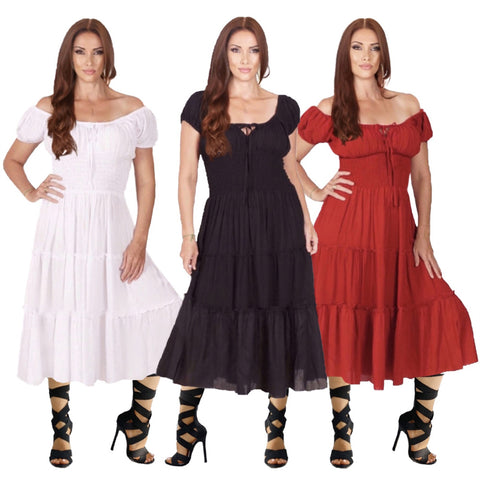 Trinity Cap Sleeve Tiers Peasant Midi Dress