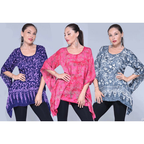 Boho 2 Hole Gauzy Batik Tunic Top