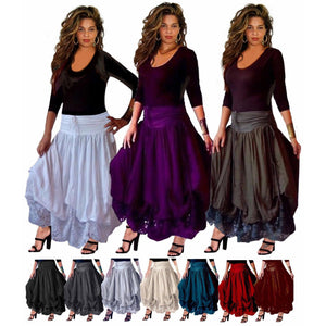 Layered Stretch Lycra and Lace Skirt