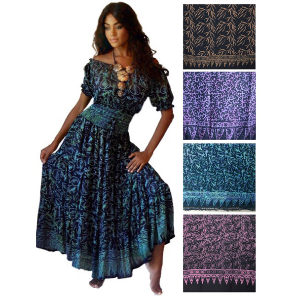 Brianna Ruffled Gauzy Batik Bohemian Maxi Dress
