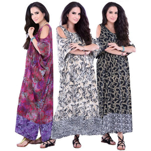 Isabel Comfort Batik Cold Shoulder Caftan Dress