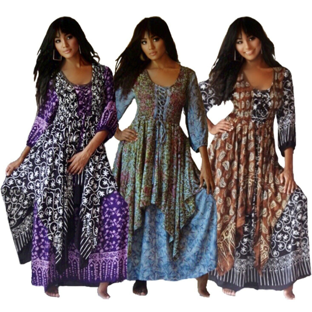 Freya Layered Batik Lagenlook Lacing Boho Maxi Dress