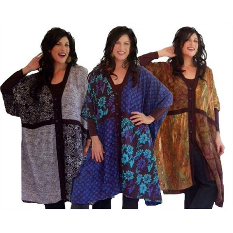 Batik Poncho Boho Trim Button Down Tunic