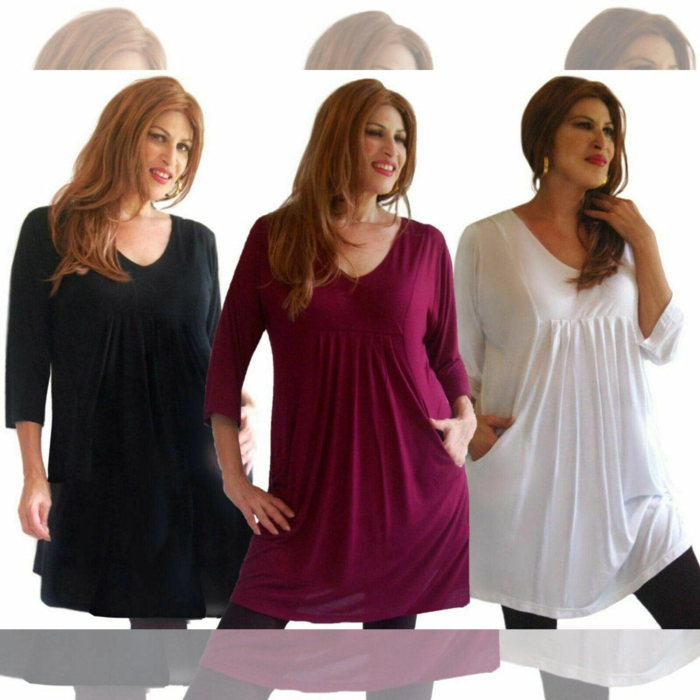 Claire Jersey Baby Doll 3/4 Sleeve Blouse Tunic Pockets