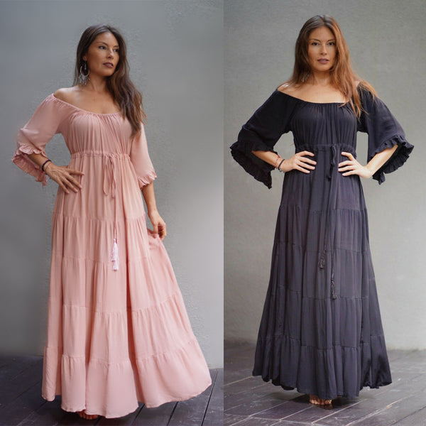 Isabella Boho Tiered Skirt A Line Maxi Renaissance Dress