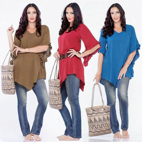 Aria Boho 3/4 Sleeve Ruffled Angled Hem Blouse Top Tunic