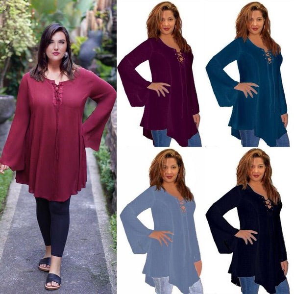 Bell Sleeves Lacing Gypsy Boho Blouse
