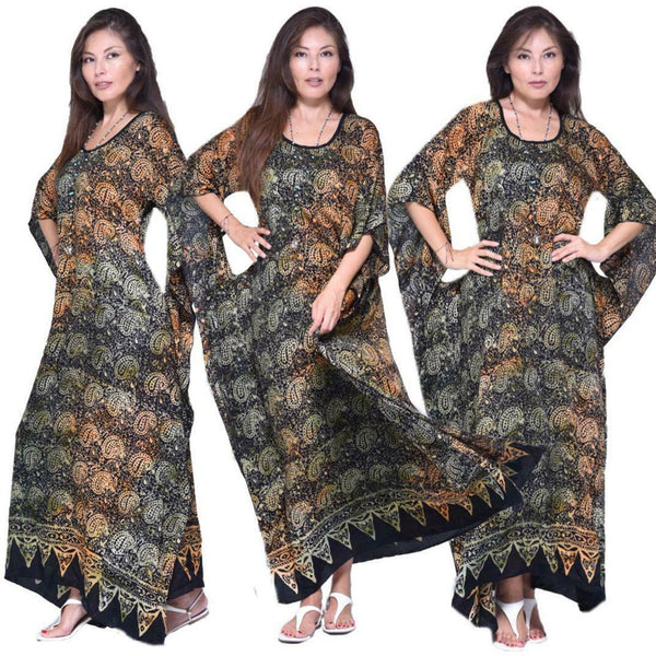 Boho Gypsy Gauzy Batik Caftan Dress