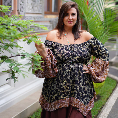 Empire Waist Batik Mix Blouse